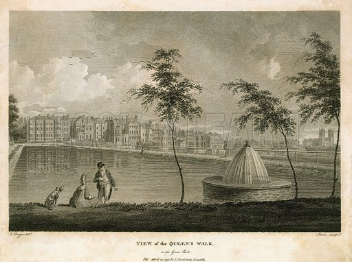 View of the Queen's Walk in Green Park. Published 1797.