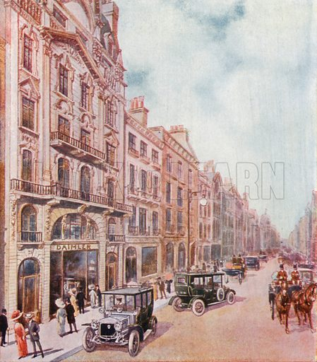 Offices and showrooms of the Daimler Company in Pall Mall. From London's Social Calendar (Savoy Hotel, c 1915).