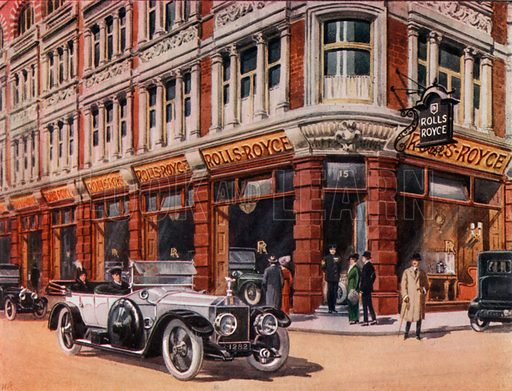 Rolls-Royce showroom at 15 Conduit Street. From London's Social Calendar (Savoy Hotel, c 1915).