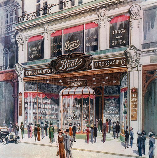 Branch of Boots at 182 Regent Street. From London's Social Calendar (Savoy Hotel, c 1915).