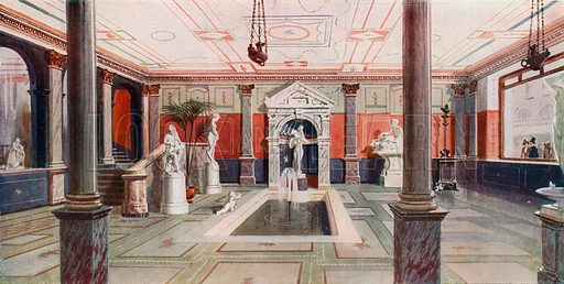 Entrance Hall of Messrs Pears of Pears Soap fame, reproducing a hall in Herculaneum. 71–75 Oxford Street. From London's Social Calendar (Savoy Hotel, c 1915).