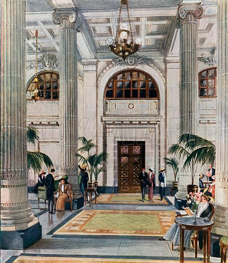 Hypostyle Hall of the New Midland Adelphi Hotel, Liverpool. From London's Social Calendar (Savoy Hotel, c 1915).