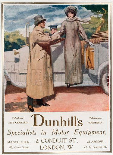 Dunhill's, specialists in motor equipment, 2 Conduit Street. From London's Social Calendar (Savoy Hotel, c 1915).