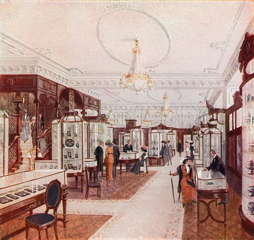 Grand salon of Stewart Dawson's Jewel Palace in Regent Street. From London's Social Calendar (Savoy Hotel, c 1915).