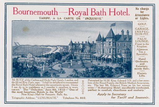 Bournemouth – Royal Bath Hotel. From London's Social Calendar (Savoy Hotel, c 1915).