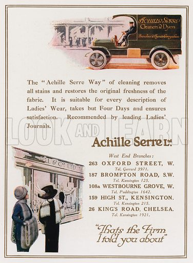 Achille Serre, cleaners and dyers. From London's Social Calendar (Savoy Hotel, c 1915).
