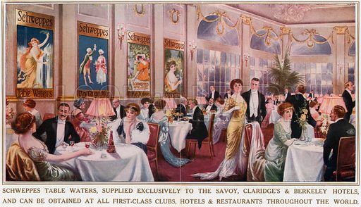Schweppes Table Waters. From London's Social Calendar (Savoy Hotel, c 1915).