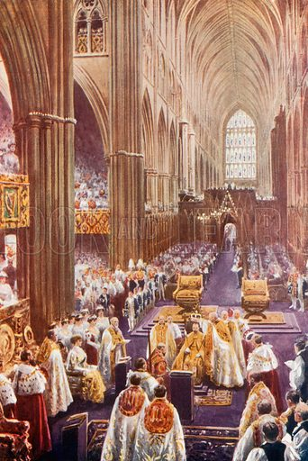Coronation ceremony at Westminster Abbey. From London's Social Calendar (Savoy Hotel, c 1915).