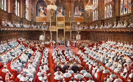 The House of Lords. The opening of the Houses of Parliament by His Majesty the King. From London's Social Calendar (Savoy Hotel, c 1915).