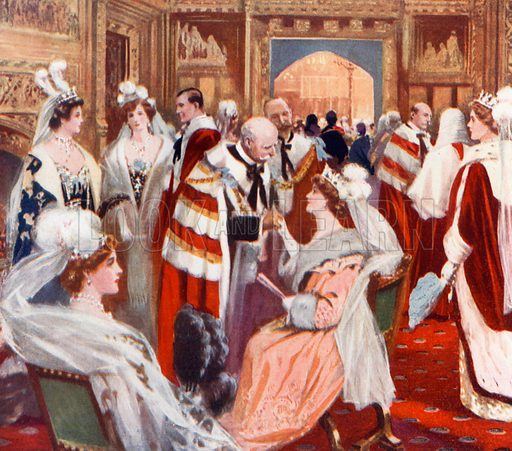 The anteroom of the House of Peers before the State Opening of Parliament. From London's Social Calendar (Savoy Hotel, c 1915).