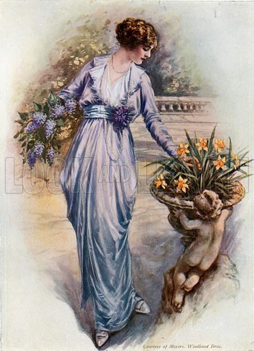 Girl picking flowers. From London's Social Calendar (Savoy Hotel, c 1915).