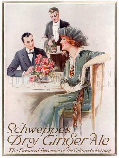 Schweppes Dry Ginger Ale. From London's Social Calendar (Savoy Hotel, c 1915).