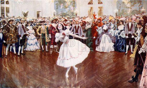 Madame Pavlova attending a fancy dress ball at the Savoy. From London's Social Calendar (Savoy Hotel, c 1915).