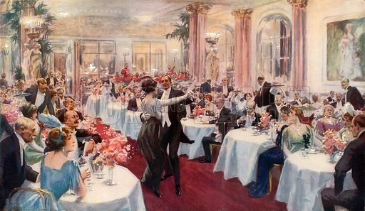 Supper Scene at the Savoy.  From London's Social Calendar (Savoy Hotel, c 1915).