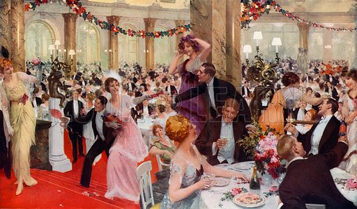 New Year's Eve Festivities at the Savoy. From London's Social Calendar (Savoy Hotel, c 1915).