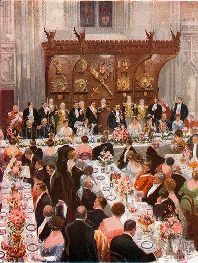 Lord Mayor's Banquet at the Guildhall. From London's Social Calendar (Savoy Hotel, c 1915).