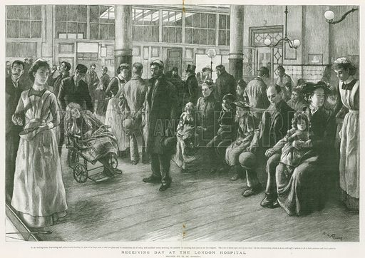 Receiving day at the London Hospital. From the Graphic 15 June 1895.