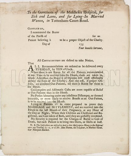 The Middlesex Hospital, near Oxford Street. Recommendation letter.
