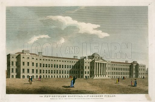 The new Bethlehem Hospital in St George's Fields, London. Published 1814.