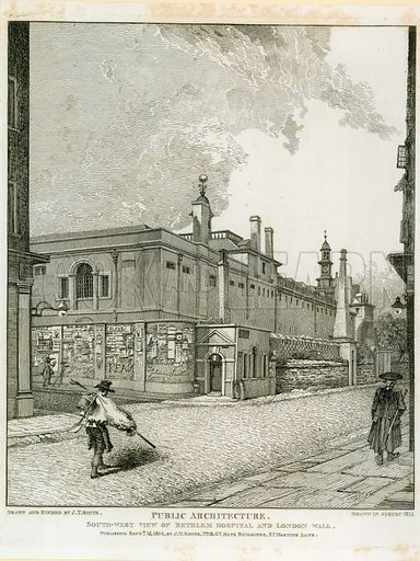 South West View of Bethlem Hospital and London Wall. Drawn in August 1814.