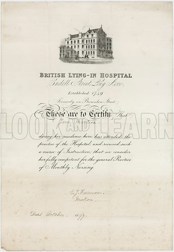 British Lying-In Hospital. Nursing certificate.