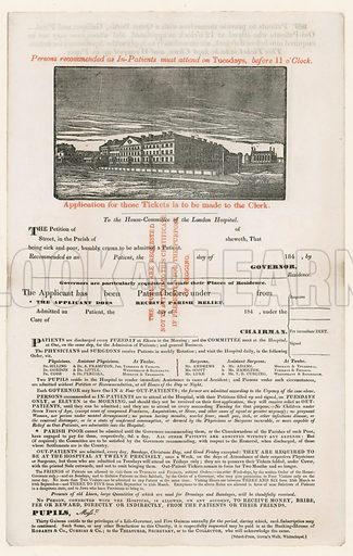Application for entrance to the London Hospital.