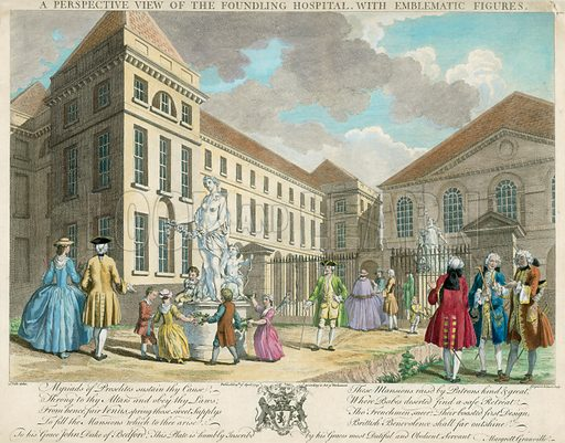 A perspective view of the Foundling Hospital with emblematic figures.