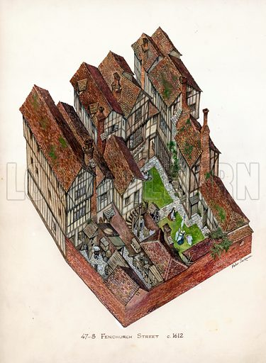 47–48 Fenchurch Street, London. Note: Two illustrations showing inside and out. Original artwork.
