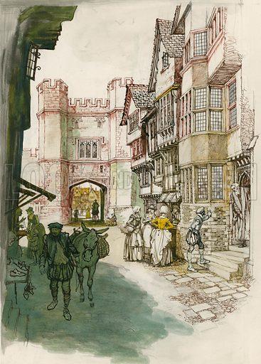 Unidentified London street scene. Original artwork.