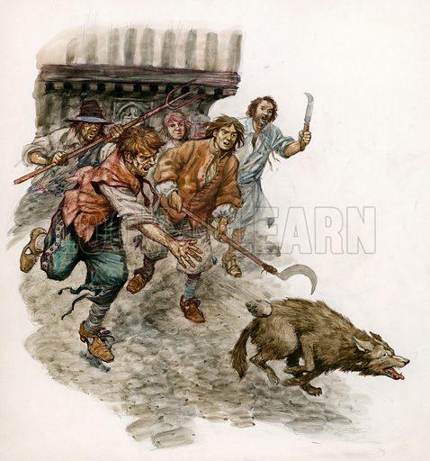 Chasing a wild dog through the streets. Original artwork.