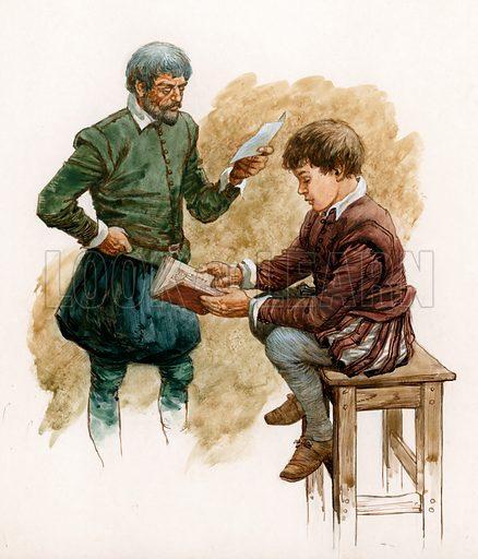 Tudor boy being taught.  Original artwork.