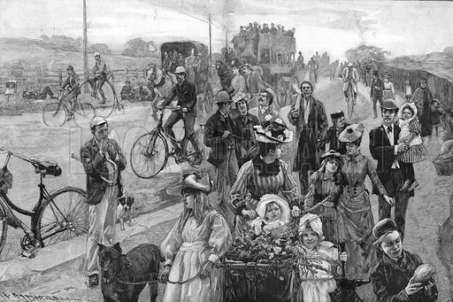 Street scene with many bicycles. From the Graphic 12 April 1890.