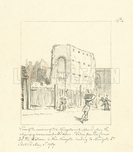 Drawing of the remains of Old Newgate. Original artwork. Attributed to John Carter.