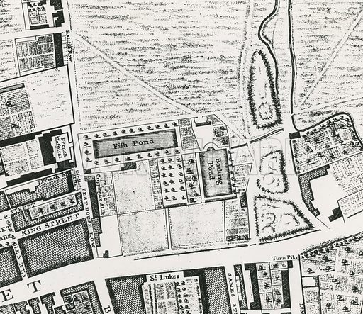 Map showing the Peerless Bathing Pond, north of Old Street.
