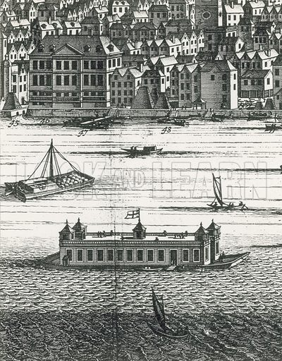 The Folly in about 1710 by an unknown foreign artist. Possibly at its winter mooring near Bankside.