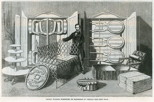 Patent folding furniture by Mannstein of Vienna. From the Illustrated London News, 1 November 1862.