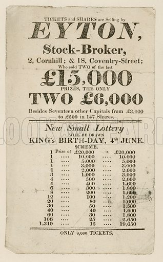 Advertisement for state lottery.