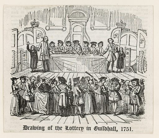 Drawing of the lottery in Guildhall, 1751.
