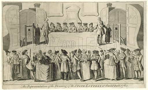 Drawing of the State Lottery at Guildhall in 1763.