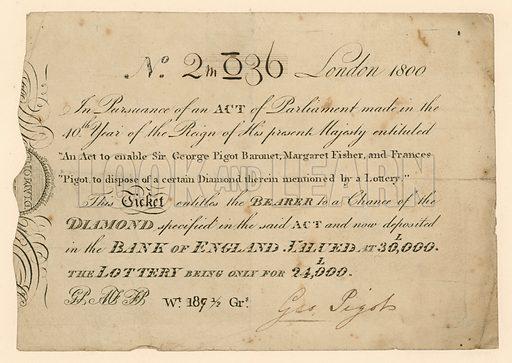 Lottery to win a diamond, 1800.