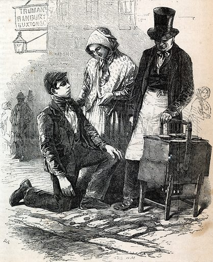 The Coster Boy and Girl Tossing the Pieman. From Mayhew's London Labour and the London Poor.