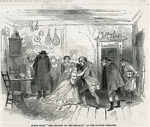 Scene from The Cricket on the Hearth at the Lyceum Theatre. From the Illustrated London News, 27 December 1845.