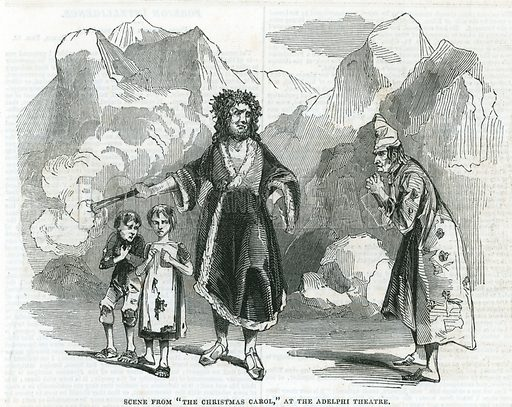 Scene from The Christmas Carol at the Adelphi Theatre. From the Illustrated London News, 17 February 1844.