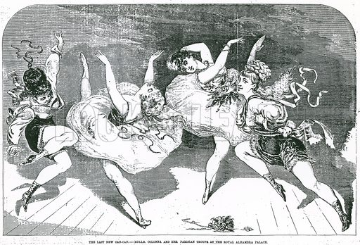 The Last New Can-Can – Mademoiselle Colonna and her Parisian troupe at the Royal Alhambra Palace. From The Day's Doings, 8 October 1870.