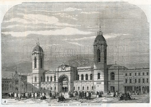 The Agricultural Hall in Islington in the process of construction. From the Illustrated London News, 7 December 1861.