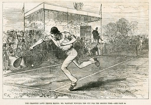 The Champion Lawn Tennis Match: Mr Hartley winning the cup for the second time. From the Illustrated London News, 24 July 1880.