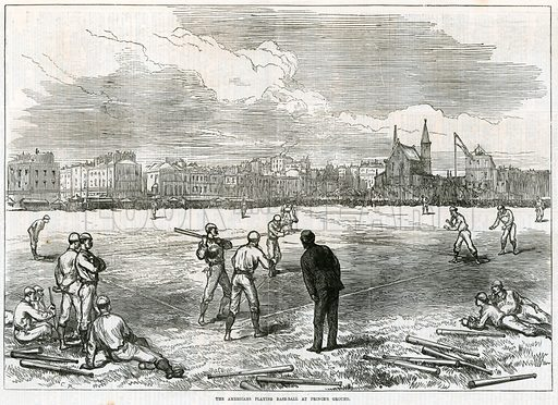 Americans playing baseball at the Prince's Grounds. From the Illustrated London News, 15 August 1874.