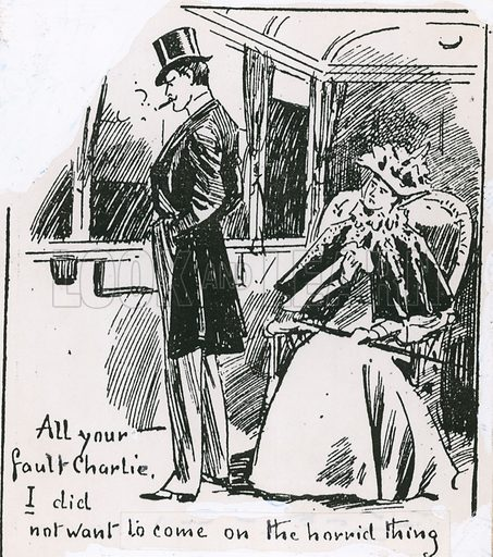 Cartoon for the Daily Graphic 1896, alluding to having been trapped in the Earl's Court Great Wheel.