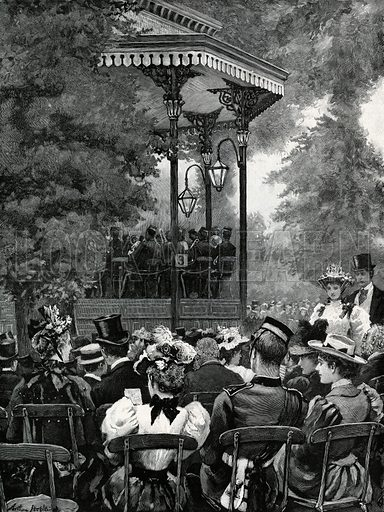 Open-air music in London: Listening to the military band in Hyde Park. From the Graphic 31 August 1895.