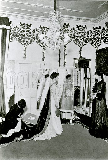 The dress being prepared for a presentation at Court.